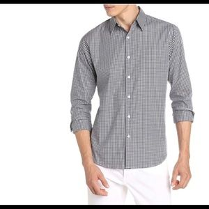 Theory Gingham Check Button Down, Size XL